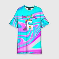 Платье клеш для девочки Impostor Unicorn цвета 3D — фото 1