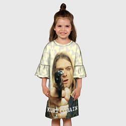Платье клеш для девочки Кобейн с пистолетом цвета 3D-принт — фото 2