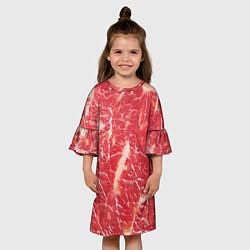 Платье клеш для девочки Мясо цвета 3D — фото 2