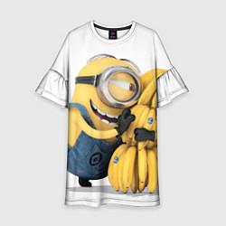 Платье клеш для девочки Minion loves banana цвета 3D — фото 1