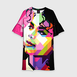 Платье клеш для девочки Michael Jackson Art цвета 3D — фото 1