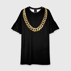 Платье клеш для девочки Золотая цепь цвета 3D — фото 1