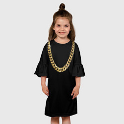 Платье клеш для девочки Золотая цепь цвета 3D — фото 2