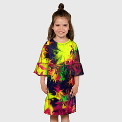 Платье клеш для девочки Кислотный взрыв цвета 3D-принт — фото 2