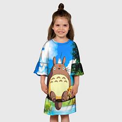 Платье клеш для девочки Тоторо и компания цвета 3D-принт — фото 2