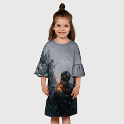 Платье клеш для девочки Солдаты цвета 3D — фото 2