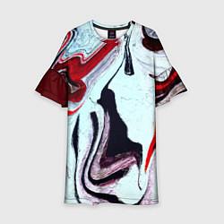 Платье клеш для девочки Разводы цвета 3D-принт — фото 1