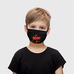 Маска для лица детская AC/DC Flame цвета 3D-принт — фото 1