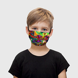 Маска для лица детская Неоновые разводы цвета 3D — фото 1