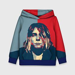 Толстовка-худи детская Kurt Cobain цвета 3D-синий — фото 1