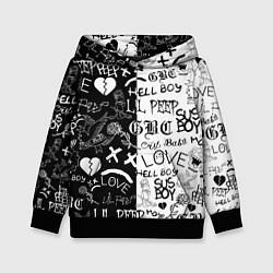 Толстовка-худи детская LIL PEEP LOGOBOMBING цвета 3D-черный — фото 1