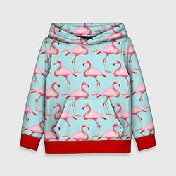 Толстовка-худи детская Фламинго цвета 3D-красный — фото 1