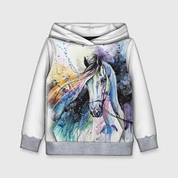 Толстовка-худи детская Акварельная лошадь цвета 3D-меланж — фото 1