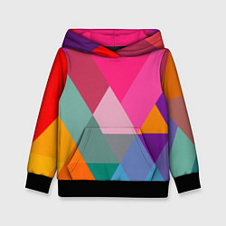 Толстовка-худи детская Разноцветные полигоны цвета 3D-черный — фото 1