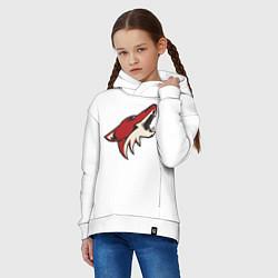 Детская хлопковая толстовка оверсайз с принтом Phoenix Coyotes, цвет: белый, артикул: 10010707606093 — фото 2