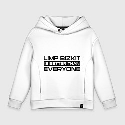 Толстовка оверсайз детская Limp Bizkit: Everyone цвета белый — фото 1