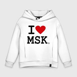 Толстовка оверсайз детская I love MSK цвета белый — фото 1