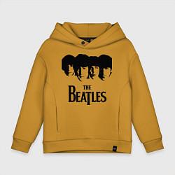 Толстовка оверсайз детская The Beatles: Faces цвета горчичный — фото 1