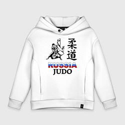 Толстовка оверсайз детская Russia Judo цвета белый — фото 1