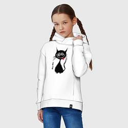 Толстовка оверсайз детская Кошка Мяу цвета белый — фото 2
