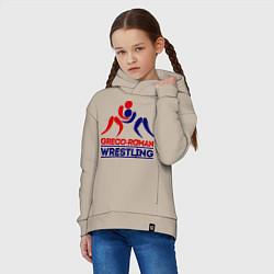 Толстовка оверсайз детская Greco-roman wrestling цвета миндальный — фото 2