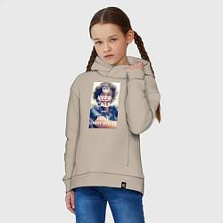 Толстовка оверсайз детская Keep Calm & Love Harry Styles цвета миндальный — фото 2