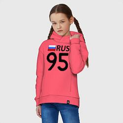 Толстовка оверсайз детская RUS 95 цвета коралловый — фото 2