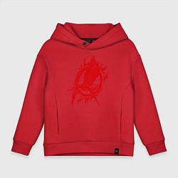 Толстовка оверсайз детская Пламенная птица цвета красный — фото 1