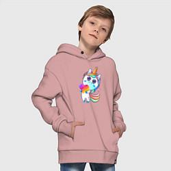 Толстовка оверсайз детская Единорог Likee цвета пыльно-розовый — фото 2