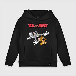 Толстовка оверсайз детская Tom & Jerry цвета черный — фото 1