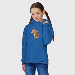 Толстовка оверсайз детская Лошадь в цветах цвета синий — фото 2