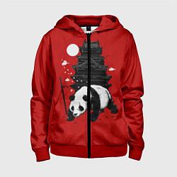 Толстовка на молнии детская Panda Warrior цвета 3D-красный — фото 1
