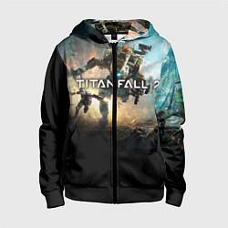 Толстовка на молнии детская Titanfall Battle цвета 3D-черный — фото 1
