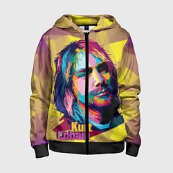 Толстовка на молнии детская Kurt Cobain: Abstraction цвета 3D-черный — фото 1