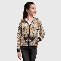 Толстовка на молнии детская Взгляд леопарда цвета 3D-черный — фото 2