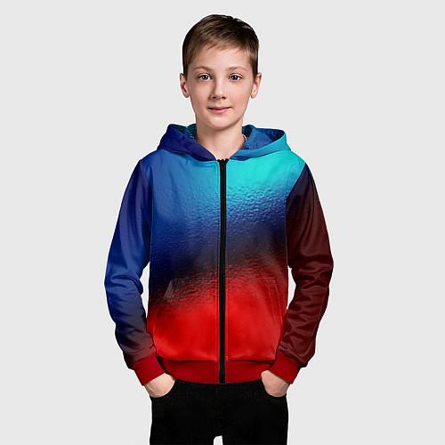 Детская толстовка на молнии Синий и красный / 3D-Красный – фото 3