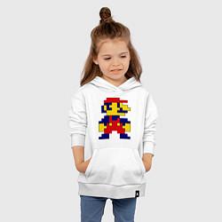 Толстовка детская хлопковая Pixel Mario цвета белый — фото 2