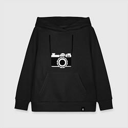 Толстовка детская хлопковая Фотик на шее цвета черный — фото 1