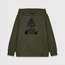 Толстовка детская хлопковая Keep Calm & Love Cats цвета хаки — фото 1