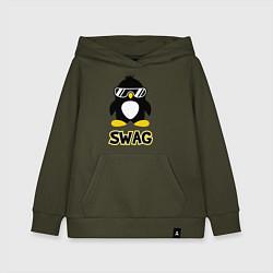 Толстовка детская хлопковая SWAG Penguin цвета хаки — фото 1