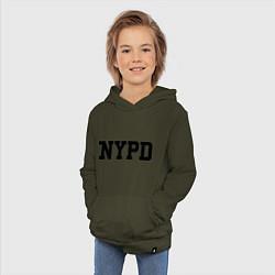 Толстовка детская хлопковая NYPD цвета хаки — фото 2