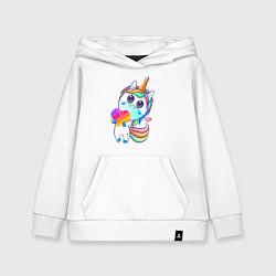 Толстовка детская хлопковая Единорог Likee цвета белый — фото 1