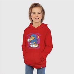 Толстовка детская хлопковая Дружба- понятие круглосуточное цвета красный — фото 2