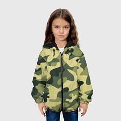 Куртка с капюшоном детская Камуфляж: зеленый/хаки цвета 3D-черный — фото 2