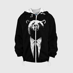 Детская 3D-куртка с капюшоном с принтом Медведь бизнесмен, цвет: 3D-белый, артикул: 10113467305458 — фото 1