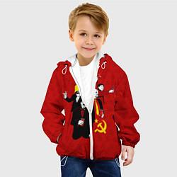 Детская 3D-куртка с капюшоном с принтом Communist Party, цвет: 3D-белый, артикул: 10114533805458 — фото 2