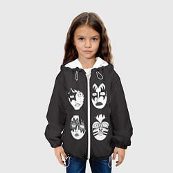Детская 3D-куртка с капюшоном с принтом KISS Mask, цвет: 3D-белый, артикул: 10119460405458 — фото 2