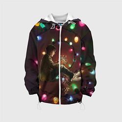 Детская 3D-куртка с капюшоном с принтом Парень с лампочками, цвет: 3D-белый, артикул: 10135899305458 — фото 1