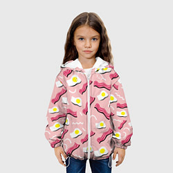 Куртка с капюшоном детская Стиль бекона цвета 3D-белый — фото 2