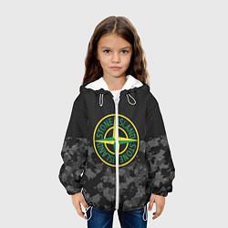 Детская 3D-куртка с капюшоном с принтом Stone Island: Black & Grey, цвет: 3D-белый, артикул: 10166638105458 — фото 2